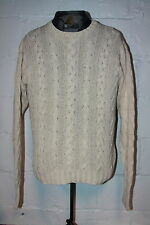 EUC Polo Ralph Lauren Cotton Linen Blend White Cable Knit Fisherman Sweater Sz M