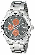 NEW Seiko SKS415 Mens Classy Round Stainless Steel Watch W Orange Sub Dials 100M