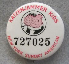 1930's KATZENJAMMER KIDS N.Y. Sunday American comic pinback button w/ back paper