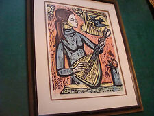 vintage Signed Numbered and framed IRVING AMEN original colored Woodcut MUSICIAN