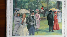 Completed Elsa Williams Colorart Crewel Victorian Day at the Races horse JCA New