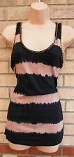 RIVER ISLAND DUSTY PINK BLACK STRIPE CHAINS COLLAR TOP TUNIC VEST BLOUSE 10 S