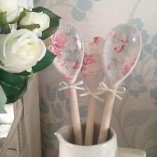 Laura Ashley Beatrice Cyclamen Grey Blue 3 Decorative Wooden Spoons Shabby Chic