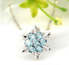 18K WG PL 925 Sterling Silver Aqua Blue CZ Snowflake Flower Pendant Necklace 18""