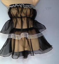 Camisola de arranque Sujetador + falda de organza francés mucama Cosplay Sissy Fetiche CD TV