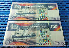 Singapore Ship Series $50 Note C/24 169214-169215 Run 2X Dollar Note Currency
