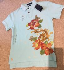 RALPH LAUREN Custom Fit Chinese Floral Dragon Padoga Blue Polo Shirts Sz Small