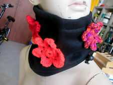 HANDMADE FABRIC COLLAR/HAT WARME WITH SOFT CROCHETED FLOWEERS ONE OF A KIND ART