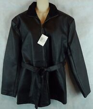 Casual Outfitters Suede Leather Collar PVC Full Zip & Tie Jacket/Coat Size M