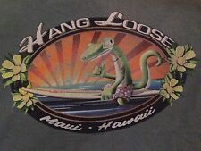 VINTAGE HANG LOOSE MAUI, HAWAII FADED GREEN T SHIRT SMALL