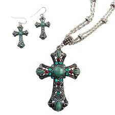 Brighton Bay Silver Crystal Cross Necklace & Earring Set 3873 Turquoise Topaz