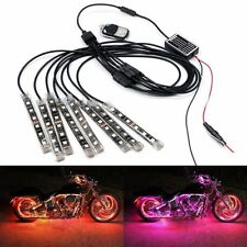 Multi Color 8 Strip SMD RGB LED Light W/ Wireless Remote for Motorcycle Car Kit
