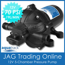 12V 5-CHAMBER WATER PRESSURE PUMP 70 PSI 19L/MIN - Boat/RV/Washdown/Deck Wash