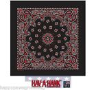 "*USA MADE 22"" Red/White/Black Bandana Western PAISLEY Cotton BANDANNA SCARF Wrap"