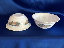 "ARCOPAL FLORINE FLORAL FRANCE SCALLOPED RIM DESSERT BOWL 4.75"" LOT OF 9"