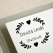 Personalized Mounted Wedding Laurel Custom Name Date Address Rubber Stamp R542