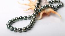 """22""""8-9mm Tahitian genuine black  peacock green round pearl necklace AA+"""