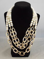 Macy's I.N.C. Goldtone Acrylic Chunky Chain White Bead Triple Strand Necklace