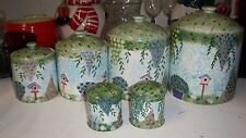 Beautiful set of Cracker Barrell 4 floral canisters w/ salt & pepper shakers