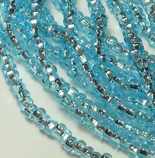 Aqua Silver Lined Czech 6/0 Seed Bead on Loose Strung 6 String Hank