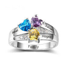 Custom Birthstone Name Ring DIY 925 Silver Ring Best Mother's Day Gift