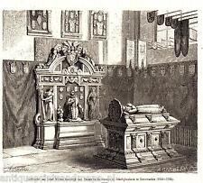antique print Leeuwarden tomb Grote Jacobijnerkerk  Willem Lodewijk van Nassau