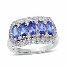 AA Tanzanite & White Zircon 925 Sterling Silver Band Ring.