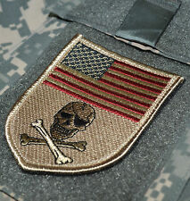 SEAL SPECIAL WARFARE ODA OPERATOR vel©®Ø SHIELD PATCH: US FLAG SKULL Desert DCU