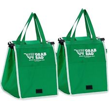 As Seen on TV Grab Bag Clip-To-Cart Reusable Grocery Shopping Bags, Pack of 2