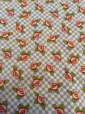 Mary Engelbreit Fabric Roses Clue White Checkered Cranston BTY Cotton Tiny