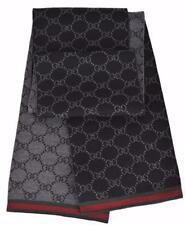 GUCCI Strickschal mit GG -Muster 23x180 cm. Wolle schwarz NEU 325806