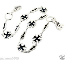 "Simple Iron Cross Symbol Biker Trucker Key Jean Wallet Chain CS12 (26.5"") Silver"