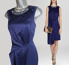 KAREN MILLEN Modern Graphic Dark Blue Beaded Neck Cocktail Dress UK10 EU38 £215