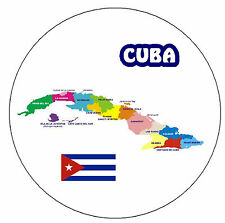 MAP OF CUBA - ROUND SOUVENIR FRIDGE MAGNET - BRAND NEW / GIFT