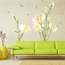 Removable Large Lily Flower Home Living Room Mural Art Decal DIY Wall Stickers