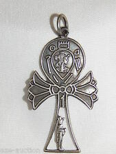 Egyptian Queen Cleopatra Ornate Etched Handcrafted Silver Ankh Amulet