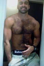 Shirtless Male Hairy Chest Beard Beefcake Smiling Muscular Hunk PHOTO 4X6 D43