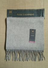 New Marks And Spencer Mens 100% Cashmere Scarf Light Grey Christmas Present