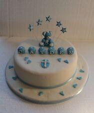 Teddy Bear & Name Block Cake Topper - Any Colour - Birthday - Christening