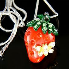 w Swarovski Crystal ~3D Juicy Red STRAWBERRY bumble bee~ beetle pendant Necklace
