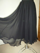 Frank Usher,Vintage Black chiffon floaty Midi/Maxi Skirt,Evening party,cocktail,