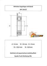10x Bund Kugellager MF 126 ZZ 6x12x4 mm Flange Bearing Flansch Kugellager