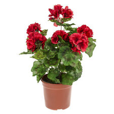 Artificial Potted Geranium Red 39 cm Decorative Plastic Plant in Brown Pot