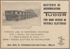 Z1588 Veicoli elettrici ad accumulatori TUDOR - Pubblicità d'epoca - 1926 Old ad