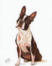 Original Oil Art BOSTON TERRIER Portrait Painting DOG Artist Signed Artwork
