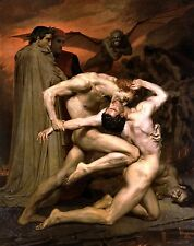 Old Masters A4 Reprint (f350) Dante and Virgil in Hell by W Bouguereau