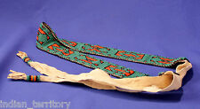 "Great Basin Paiute Indian Beaded Belt on native tanned hide  61"" long, mint cond"