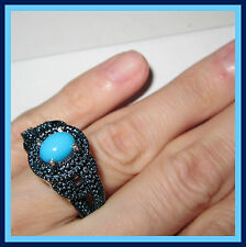 SLEEPING BEAUTY TURQUOISE / BLUE DIAMOND STERLING SILVER 925 RING sz 9