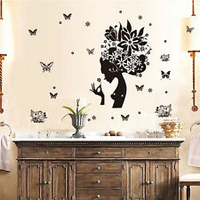 Girl Butterfly Flower Removable Vinyl Decal Wall Sticker Art Room Home Decor USA