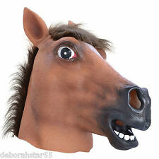 Brown Rubber Latex Horse Head Mask Panto Race Night Fancy Dress Costume Adult